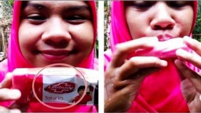 Viral Video Wanita Probolinggo Begitu Menikmati Makan Sabun