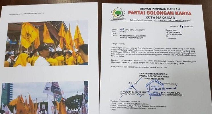 Golkar Lapor Bawaslu Terkait Benderanya Dipakai di Kampanye Prabowo