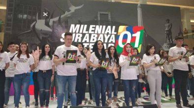 Serunya 1.700 Milenial Surabaya Deklarasi Dukung Jokowi Sambil Flashmob