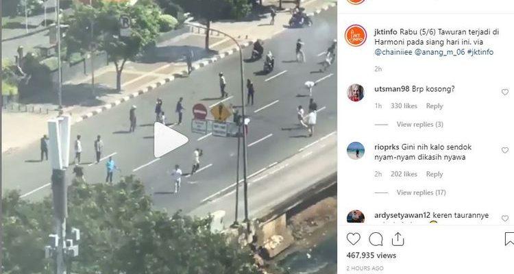 Hari Raya Idul Fitri, Beredar Video Massa Tawuran Pecah di Jakarta Pusat